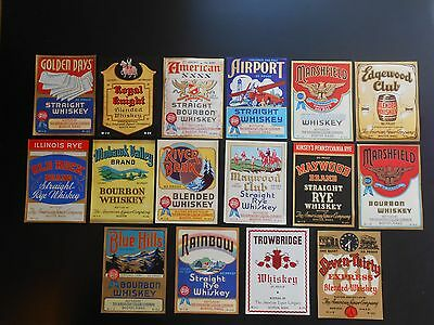 """Vintage Whiskey Labels, """"The American Liquor Company"""", Airport, Blue Hills, Etc."""