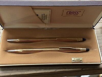Vntg Cross  1/20 12K GF Pen & pencil set made in USA with original box, Working