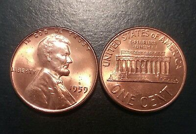 1959 1C RD Lincoln Cent