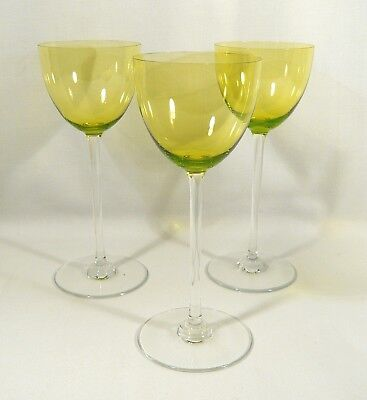 3 Signed BACCARAT Crystal Verre  PERFECTION CHARTREUSE  RHINE WINE GLASSES 7 1/2