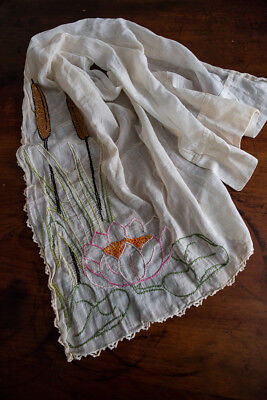 Antique Vintage Hand Embroidered Curtain Pussy Willow & Water Lily