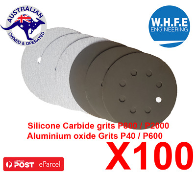 "100x 125mm ""5"" HOOK-AND-LOOP-SANDING-DISC-8-HOLE-  SANDPAPER-ORBITAL-SANDER-PAD-"