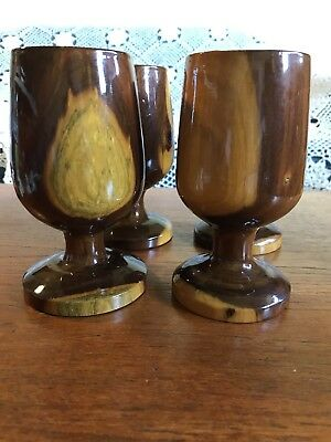 Four Vintage Beautiful Hand Turned Mulga Wood Goblets