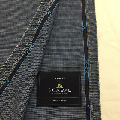 SCABAL Blue Super 120s Pure Wool Suit Fabric. Made In England