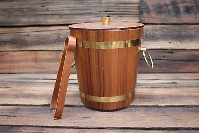Vintage Teak Ice Bucket Barrel Tongs Mid Century Brushed Aluminium