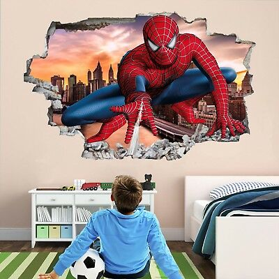 Spiderman Superhero 3D Wall Art Stickers Mural Decal Poster Kids Boys Room EA50