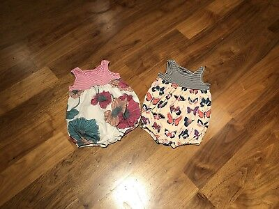 Lot of 2 Tea Collection Girls 9-12 Month One piece Rompers EXCELLENT CONDITION