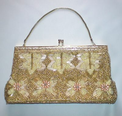 60's Vintage Gold Beaded Purse/Bag with Gold Handle