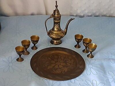 Antique Persian Decorative Leaf Small Brass Lidded Pot, Cups & Tray Set.