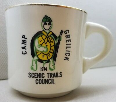 Camp Greilick Scenic Trails Council 1974 Coffee Tea Mug Turtle BSA Boy Scouts
