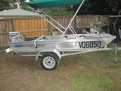 3.55mtr savage alloy boat and trailer