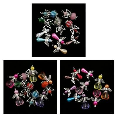 10Pcs Beads Charms Mixed Dancing Angel Wings Heart Pendants DIY Jewelry 30x21mm