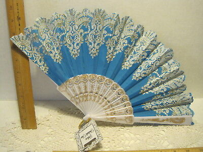 New Teal Folding Hand Fan Dancing Cooling Gold Designs Teal White New