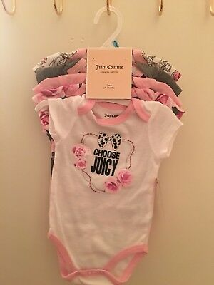 Juicy Couture Girl's 5 Pack Short Sleeve Bodysuits Size 3-6M New