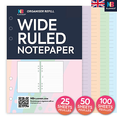 NBplanner® WIDE RULED notepaper FILOFAX A5 PERSONAL Compatible organiser refill