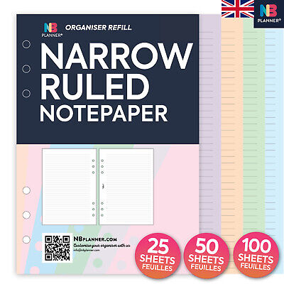 NBplanner® NARROW RULED notepaper FILOFAX A5 PERSONAL Compatible refill insert