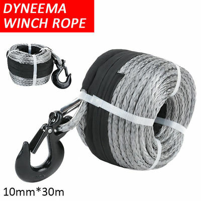 10mm 30m Dyneema Synthetic Car Winch Rope Hook Tow Recovery Cable Wire