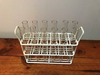 vintage chemistry industrial 12 test tubes plastic coated wire rack