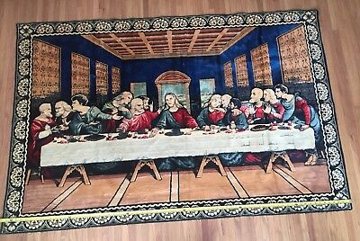Large Vintage The Last Supper Tapestry Wall Hanging 74 x 48 inches