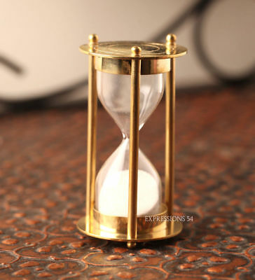 """Vintage Hour Glass Solid Brass Sand Timer 5"""" Marine Office Table Decorative Item"""