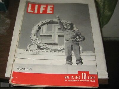 121Th-1 Life Magazine May 14, 1945 Issue U S Soldier In Front Of Nazi Emblem