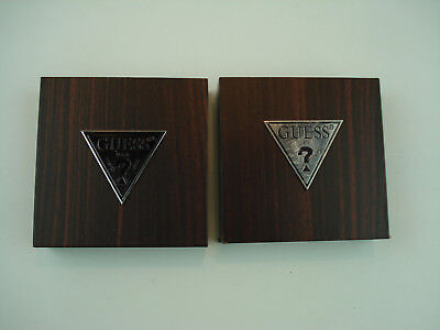 Lot of 2Guess press wood and Formica Advertising Point of Purchase Blocks