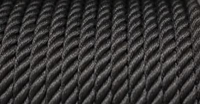 Nylon 3 Strand Twisted Rope 14mm x 100 metres Black 3750KG