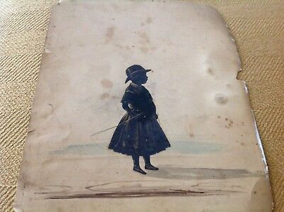 Antique Watercolor Side Profile Silhouette Little girl w riding crop & hat AS IS