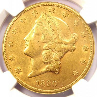 1890-CC Liberty Gold Double Eagle $20 Coin - NGC AU50 CAC PQ - $5,500 Value!