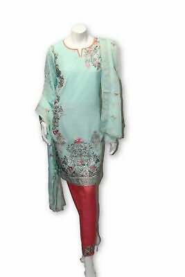 E13 Pakistani Indian 3 Pc Party Wear Chiffon Dress