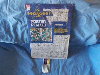 """Seaquest DSV Poster & Pen set 16"""" by 22"""" rare new in package 1993 art drawing"""