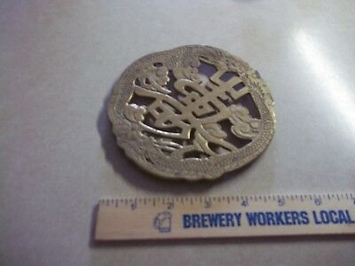 Vintage Asian Footed SOLID BRASS TRIVET Hot Pad