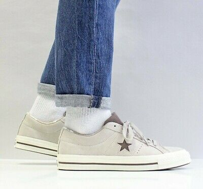 ⚫ Converse One Star 74 Suede Leather ® ( Men UK 7 -12 ) Papyrus / Chocolate Grey