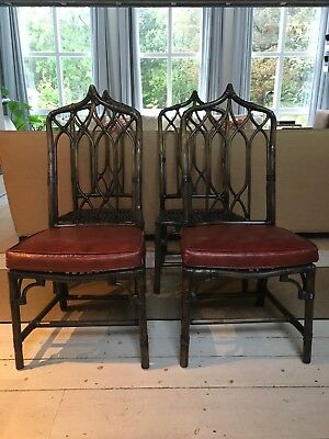 Four McGuire San Francisco vintage gothic back bamboo cane rattan side chairs