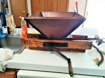 Very Old Antique Red Cross Inc. Wood Roller Crank Wine Fruit Press Crusher NICE!