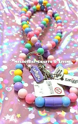 Smiggle Pastel Rainbow 🍭 Lolly💞 Beads Lanyard With Smilies