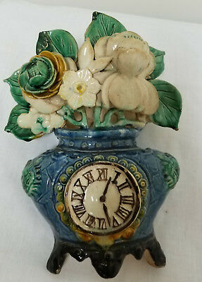 Antique Vintage Chinese Floral Clock Wall Pocket Pottery Wucai