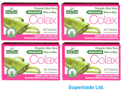 AloePura Organic AloeVera Colax Advanced One a Day Food Supplement 60 Tablets X4