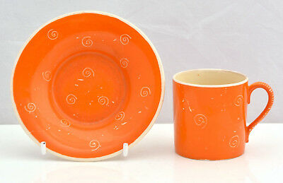 SUSIE COOPER Crown Works STAFFORDSHIRE Rare ORANGE Swirl Coffee Can & Saucer