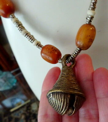 Antique Yoruba Bronze Bell & Tribal Resin Amber Beads Necklace