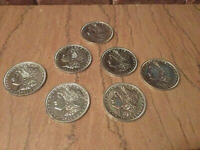 "Seven Vintage Jumbo 3"" Novelty 1900 One Silver Dollar Coin Medallion Coasters"