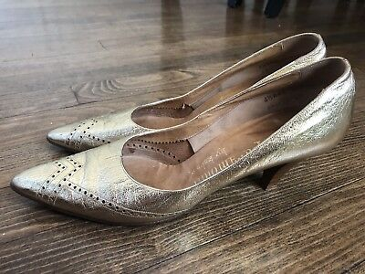 Vintage Paramount by Kalmon, Gold Leather Pumps, Anthropologie, Modcloth