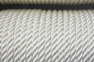 Nylon 3 Strand Twisted Rope 14mm x 100m White