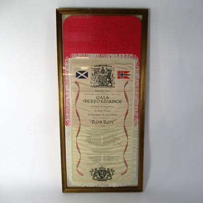 """Vintage Theatre Silk """"Rob Roy"""" with Theatre Programme Hand Signed by the Cast"""