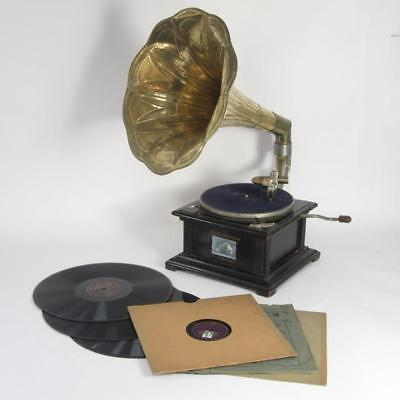 His Master's Voice Antique Wooden Phonograph Gramophone & Records, Needs Service