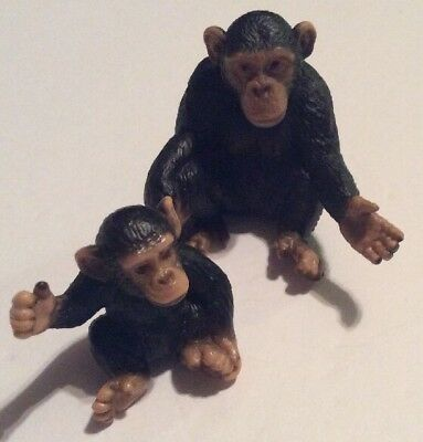 Chimpanzee Mother & Baby Schleich Set Lot Collectible Figure Plastic Toy