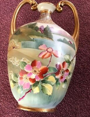 "Gorgeous Rare 11"" Circa 1920s Nippon Vase 2 Handles Gold Beads"