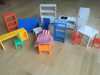 Ikea Dolls House Furniture Book Shelves Bed Chair Dressing Table