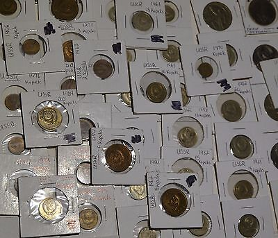 Russia USSR Large Lot of 46 Coins Soviet Issue Kopeks and Roubles - B39