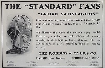 """Antique 1905 Ad(F6)~Robbins & Myers Co. Springfield, Ohio. The """"standard"""" Fan"""